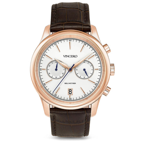Vincero Men's Bellwether Chronograph Rose Gold Watch | Brown Leather Strap Rg-Blu-W19