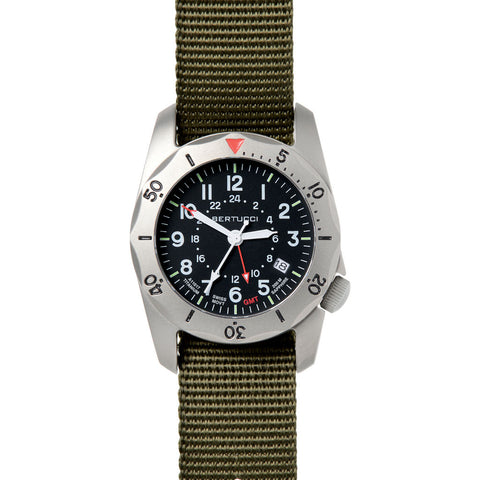 Bertucci A 2TR Vintage GMT Watch | Black Defender Olive 12118