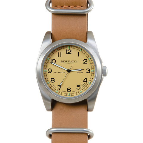 Bertucci A-3T Vintage 42 British Midstone Watch | Tan Leather Band