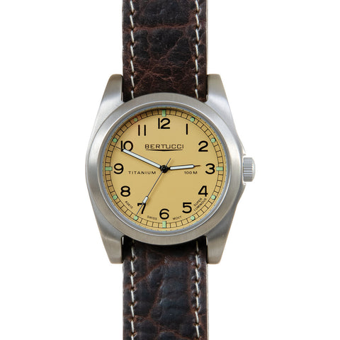 Bertucci A-3T Vintage 42 British Midstone Watch | Chestnut Leather Band