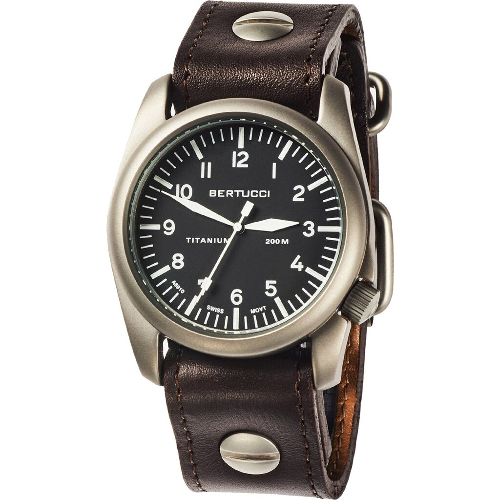 Bertucci A-4T Aero Watch | Black/Bavarian Brown Leather