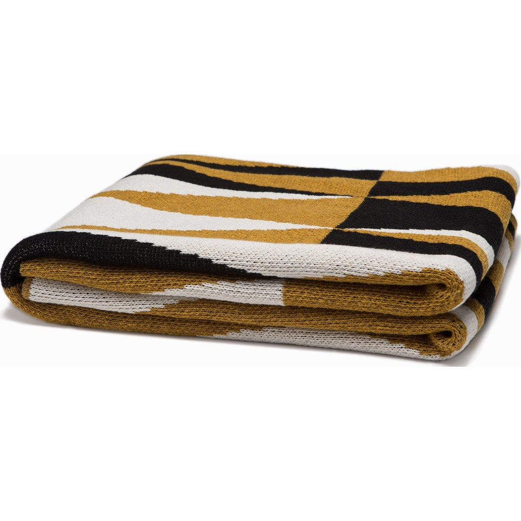 in2green Right Angles Eco Throw | Dijon/Black BL01AG3
