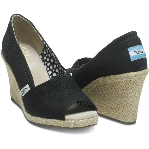 TOMS Classic Wedges | Black Canvas