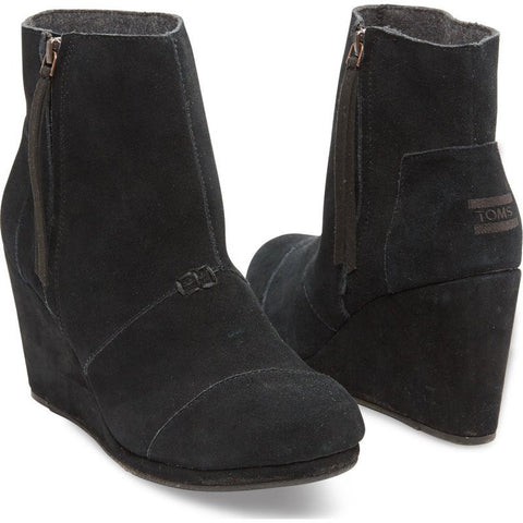 Toms Women's Suede Desert Wedge High | Black