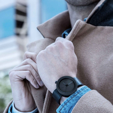 Aggregate Masonic Black Concrete Watch | Charcoal Black Leather