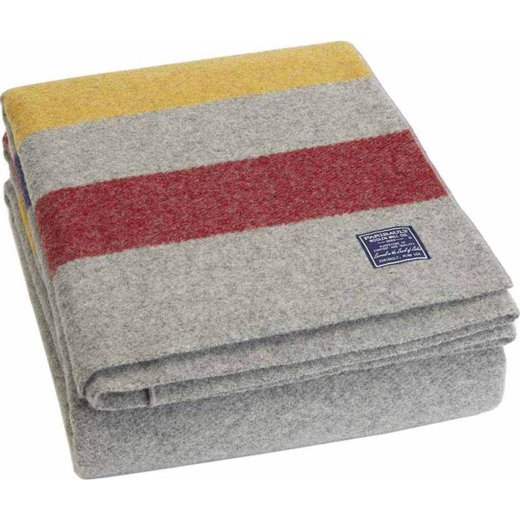 Faribault Revival Bed Blankets | Wool Gray Multi B2RSGY1342 Queen