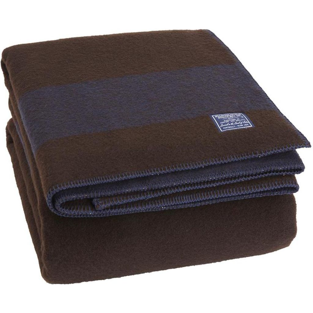 Faribault Summit Stripe Blanket  Brown/Heather Navy B3DFBN1014