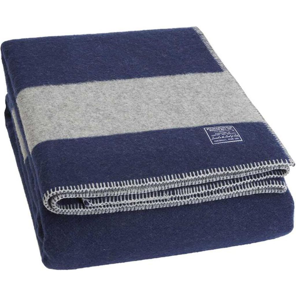 Faribault Summit Stripe Blanket Heather Gray/Heather Navy B3DFNV1038
