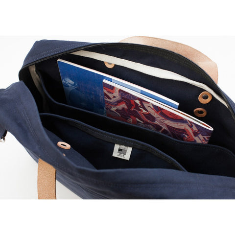 Blk Pine Classic Canvas Briefcase | Navy
