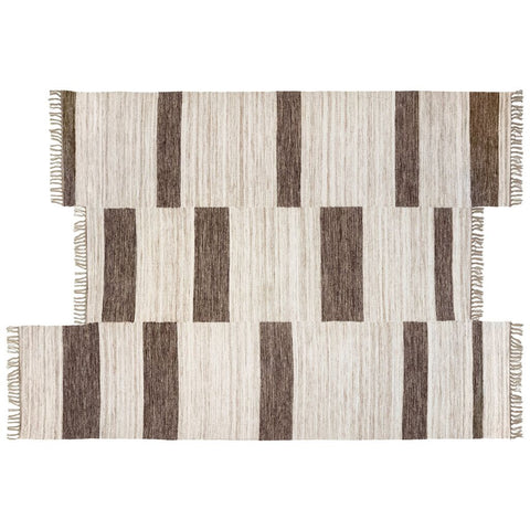 Revival Rugs Block Panel Flatweave Wool Rug | Oat