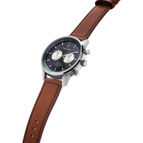 Triwa Blue Steel Nevil 2.0 Watch | Brown Sewn Classic 3 Strap NEST108:2-SC010216