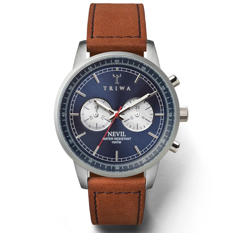 Triwa Blue Steel Nevil Watch | Brown Sewn Classic