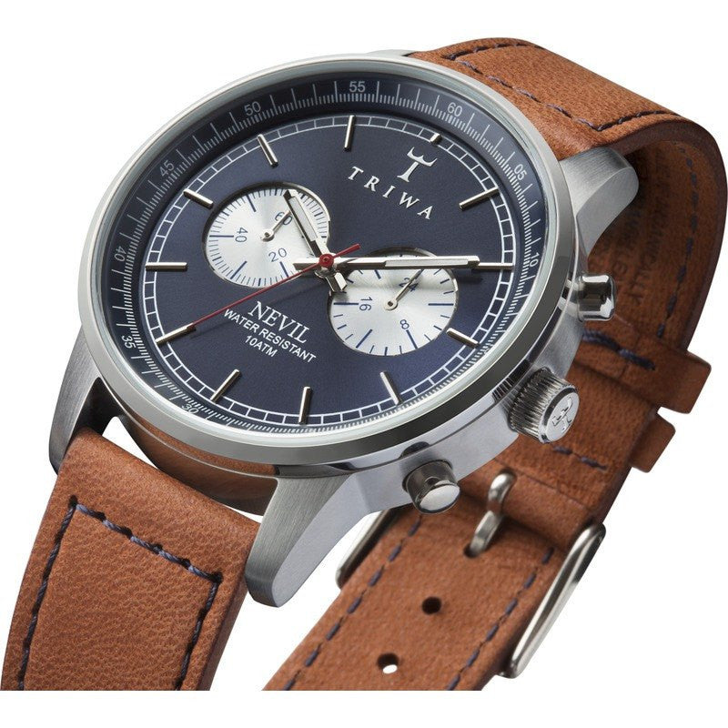 Triwa Blue Steel Nevil Watch | Brown Sewn Classic 3 NEST108.SC010216