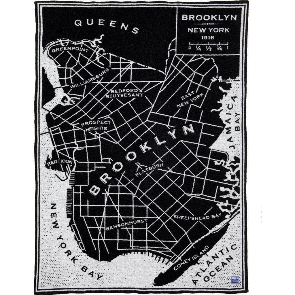 Faribault Brooklyn Map Wool Throw | Black 14589 50x65