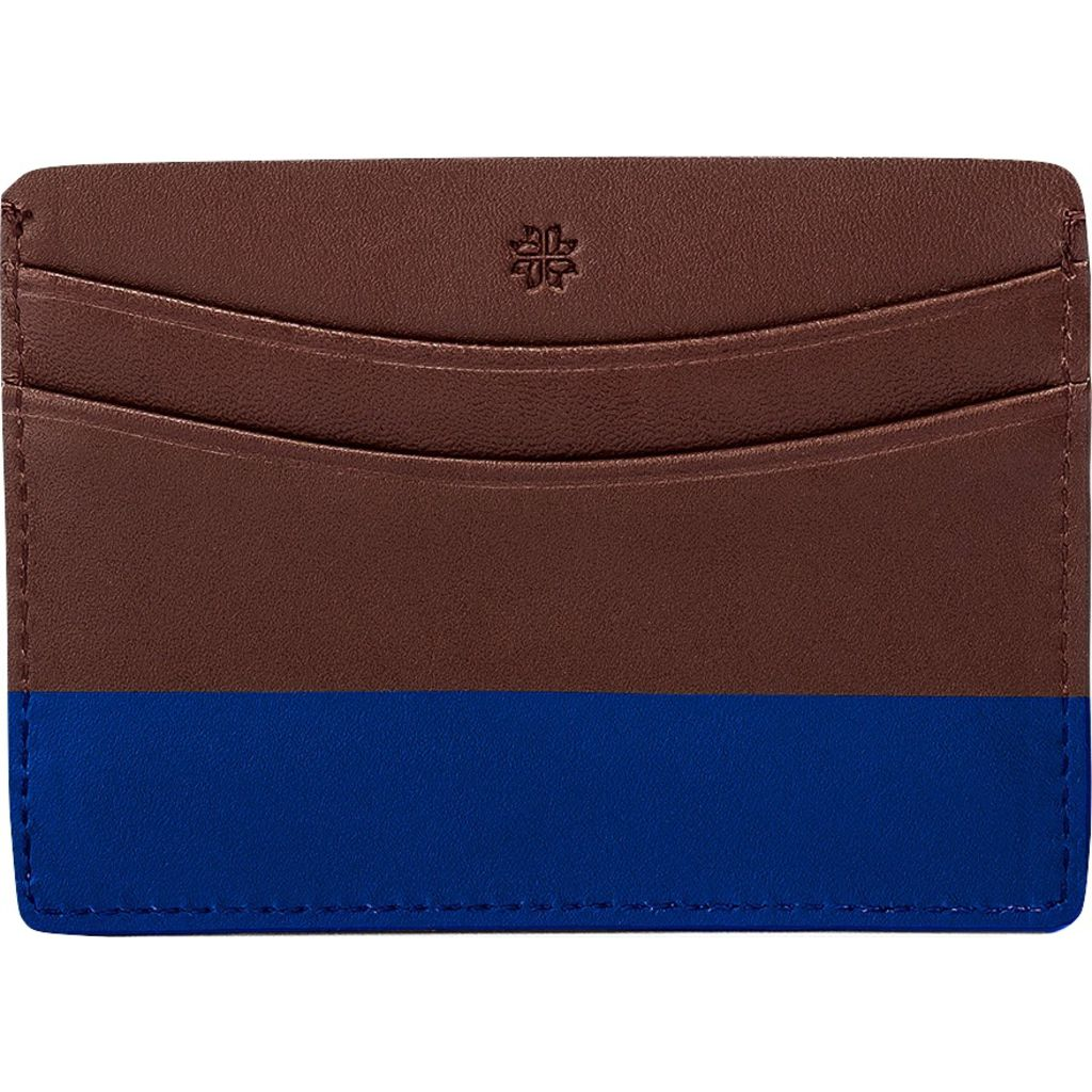 Hook & Albert Color Dipped Card Holder Wallet | Brown & Navy LCHCDBRN-NVY-OS