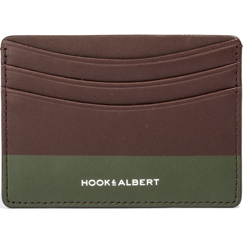 Hook & Albert Color Dipped Card Holder Wallet | Brown & Olive LCHCDBRN-OLV-OS