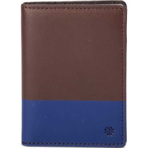 Hook & Albert Color Dipped Vertical Bi-Fold Wallet | Brown & Navy VBFCDBRN-NVY-OS