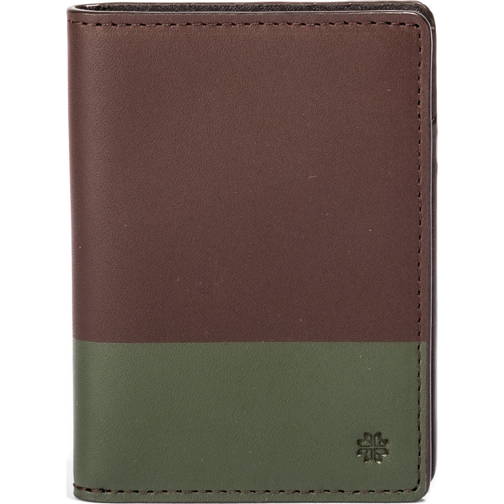 Hook & Albert Color Dipped Vertical Bi-Fold Wallet | Brown & Olive VBFCDBRN-OLV-OS