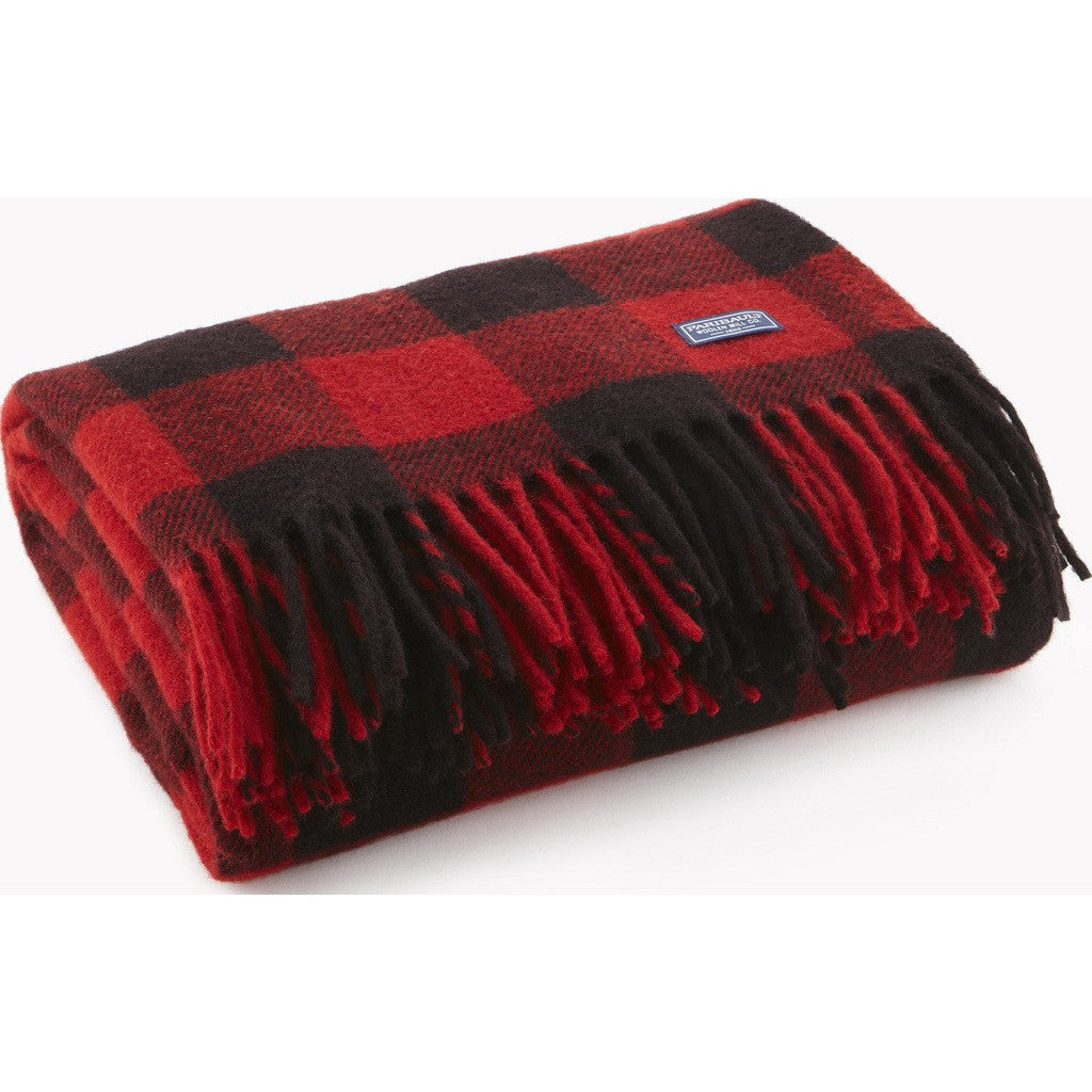 "Faribault Buffalo Check Wool Throw | Red/Black 2241 50"" x 60"""