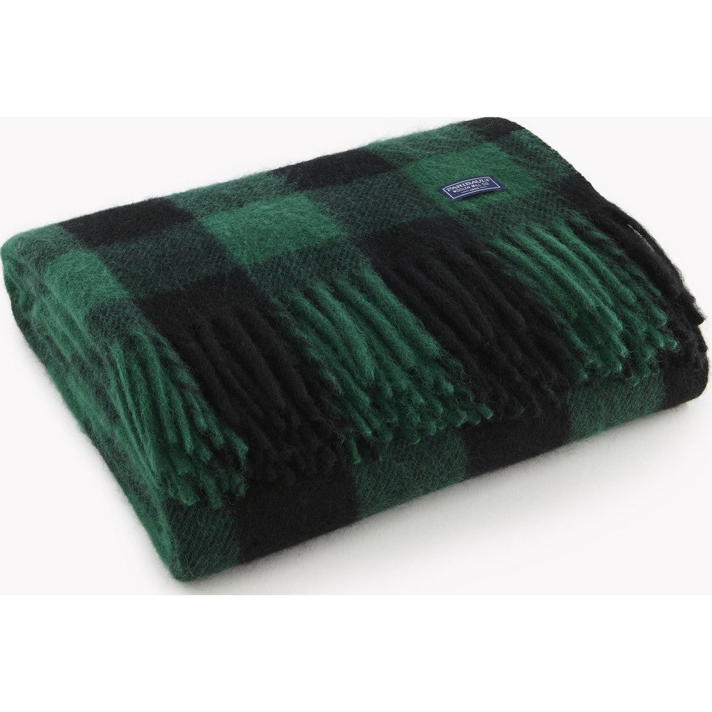 Faribault Buffalo Check Wool Throw | Green/Black 12240 50x60