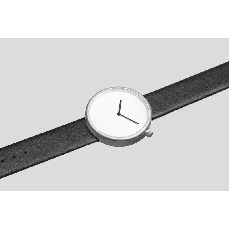 bulbul Ore 02 Men's Watch | Matte Steel on Black Italian Leather
