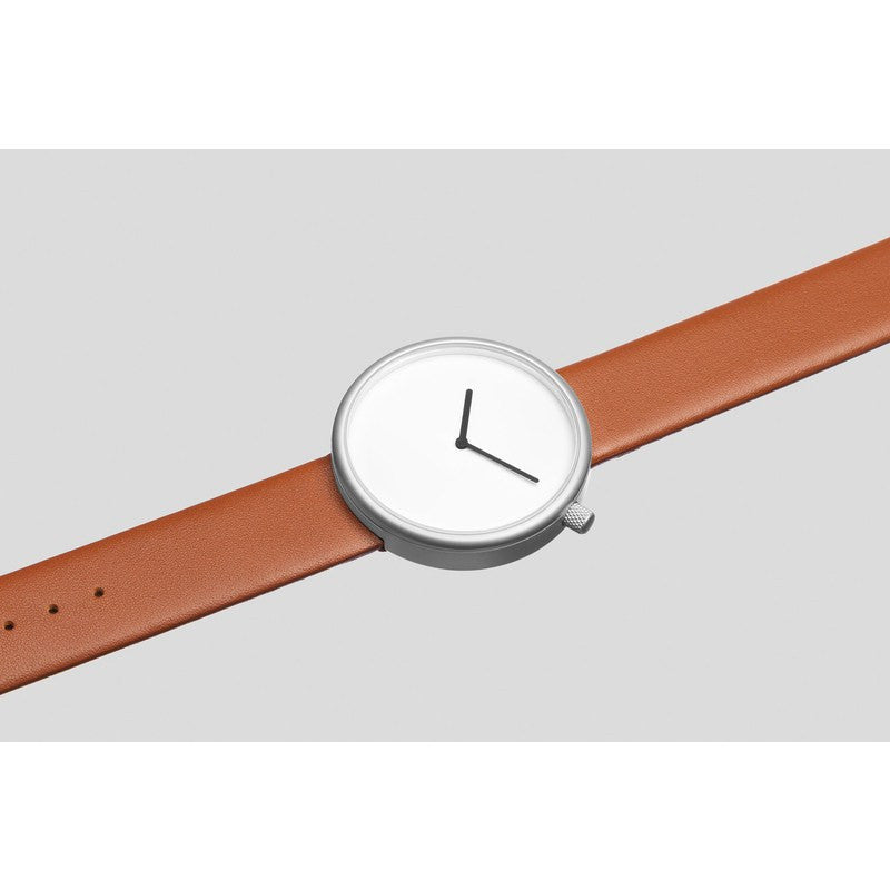bulbul Ore 03 Men's Watch | Matte Steel on Brown Italian Leather