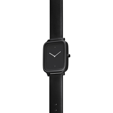 bulbul Oblong 01 Watch | Black Steel on Black Italian Leather OB01