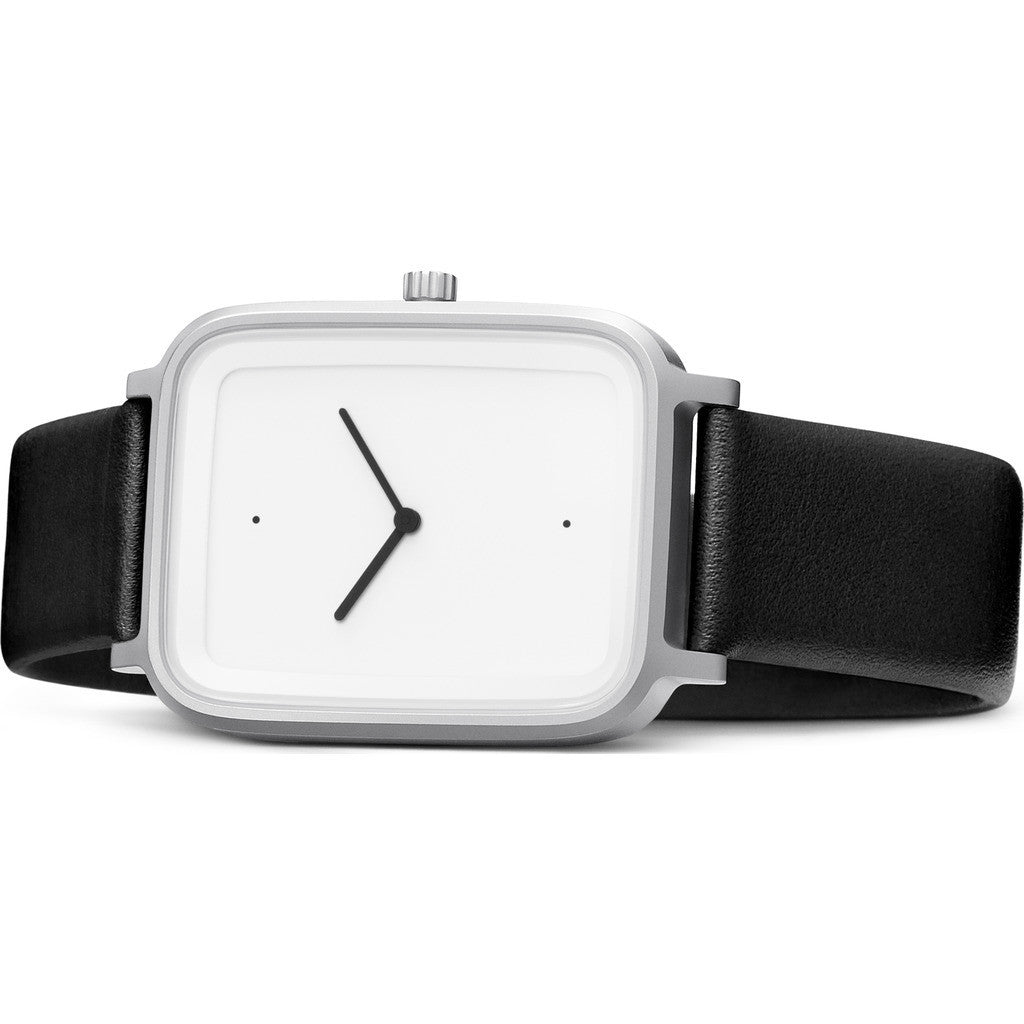 bulbul Oblong 02 Watch | Matte Steel on Black Italian Leather OB02