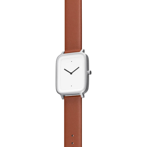bulbul Oblong 03 Watch | Matte Steel on Brown Italian Leather OB03