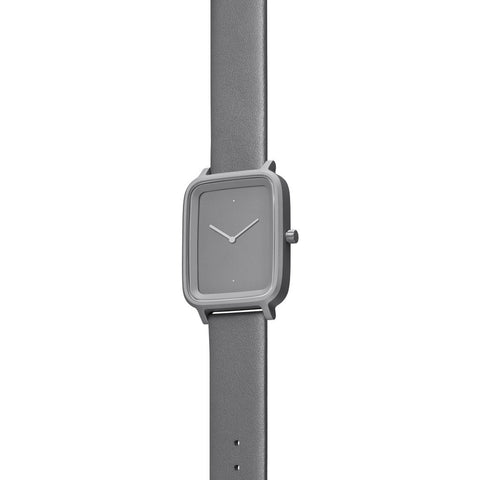 bulbul Oblong 04 Watch | Stone Grey Titanium on Grey Italian Leather OB04