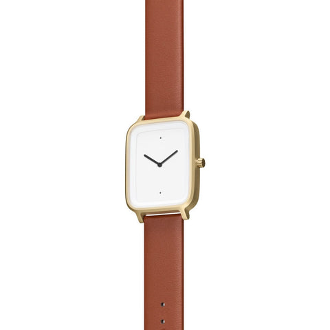 bulbul Oblong 05 Watch | Matte Golden Steel on Brown Italian Leather OB05