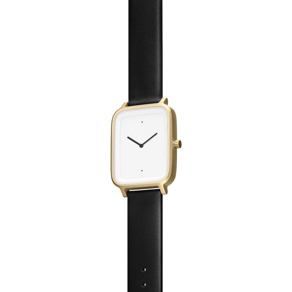 bulbul Oblong 07 Watch | Matte Golden Steel on Black Italian Leather OB07