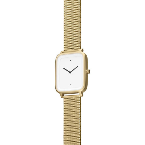 bulbul Oblong 08 Watch | Matte Golden Steel on Golden Milanese Mesh OB08