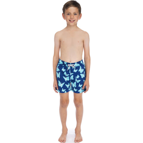 Tom & Teddy Boy's Butterflies Swim Trunk | Turquoise / 11-12