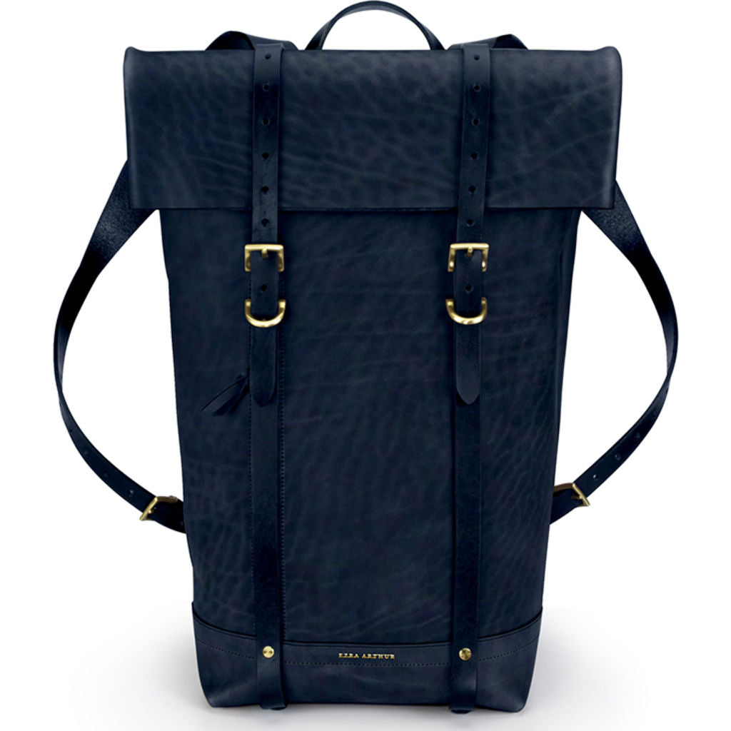 Ezra Arthur Keystone Rucksack Backpack | Navy & Brass