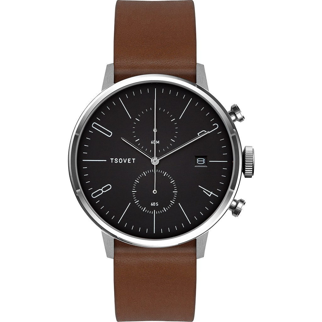 Tsovet JPT-CC38 Matte Black Chronograph Watch | Brown Leather CC111012-45