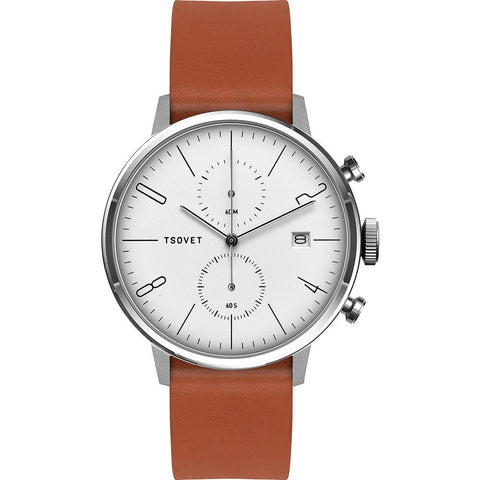 Tsovet JPT-CC38 Matte White Chronograph Watch | Tan Leather CC111513-40