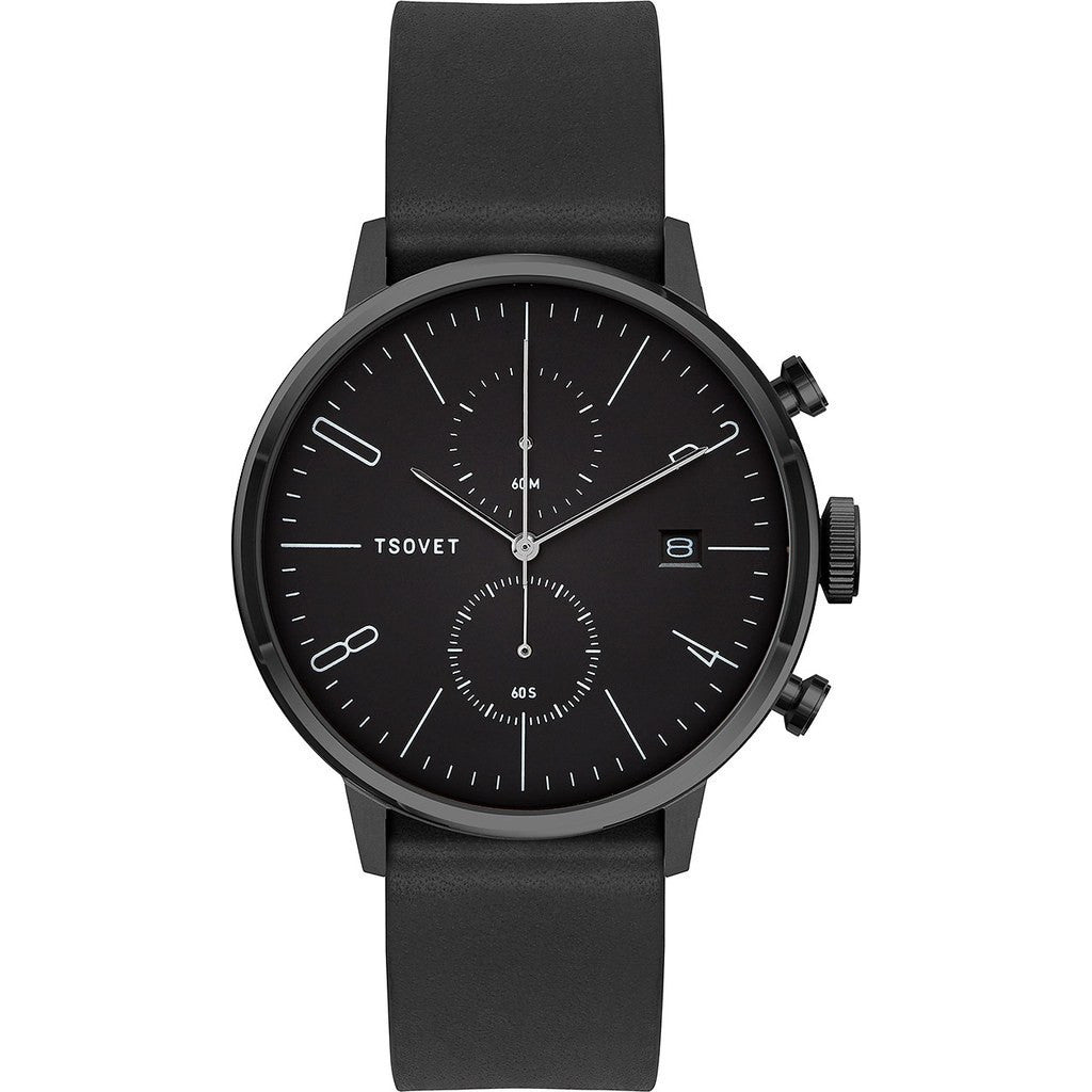 Tsovet JPT-CC38 Matte Black Chronograph Watch | Black Leather CC331010-45