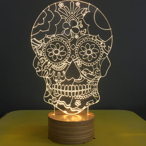 Studio Cheha Floral Skull LED Table Lamp | Birch