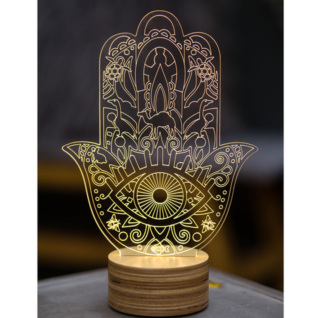 Studio Cheha Hamsa Hand LED Table Lamp | Birch