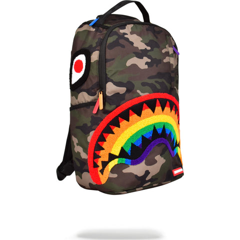 Sprayground Chenille Shark Backpack | Rainbow/Camo