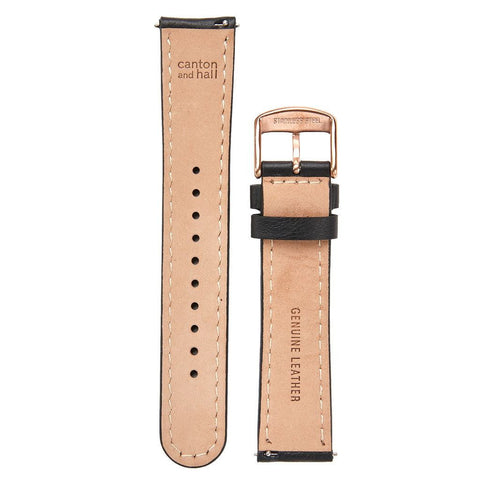 Canton and Hall Watch Strap | Black Leather/Rose Gold