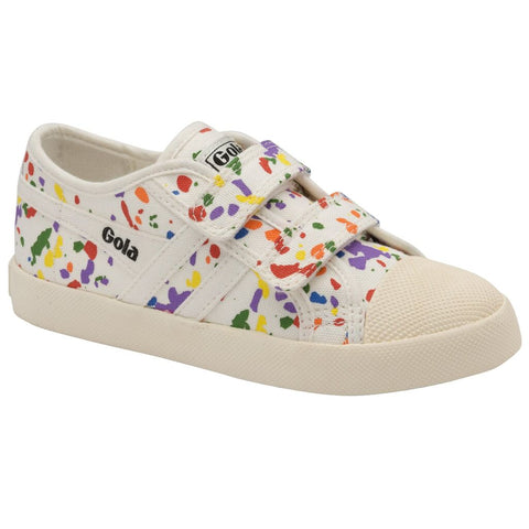 Gola Kid's Coaster Splatter Velcro Sneakers | Off White/Multi