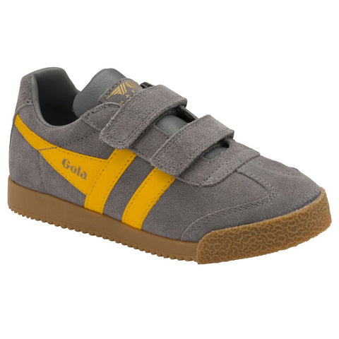 Gola Kid's Harrier Velcro Sneakers | Ash/Sun