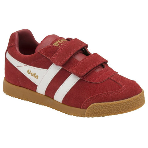 Gola Kid's Harrier Velcro Sneakers | Deep Red/White