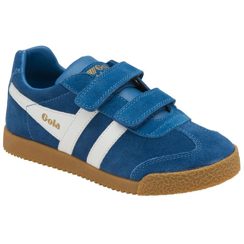 Gola Kid's Harrier Velcro Sneakers | Marine Blue/White