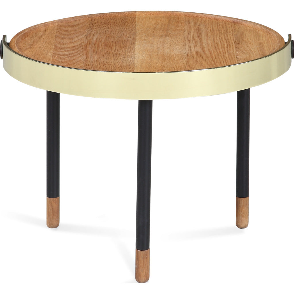 Camino Carmel Side Table | Waxed Oak/Brass/Black