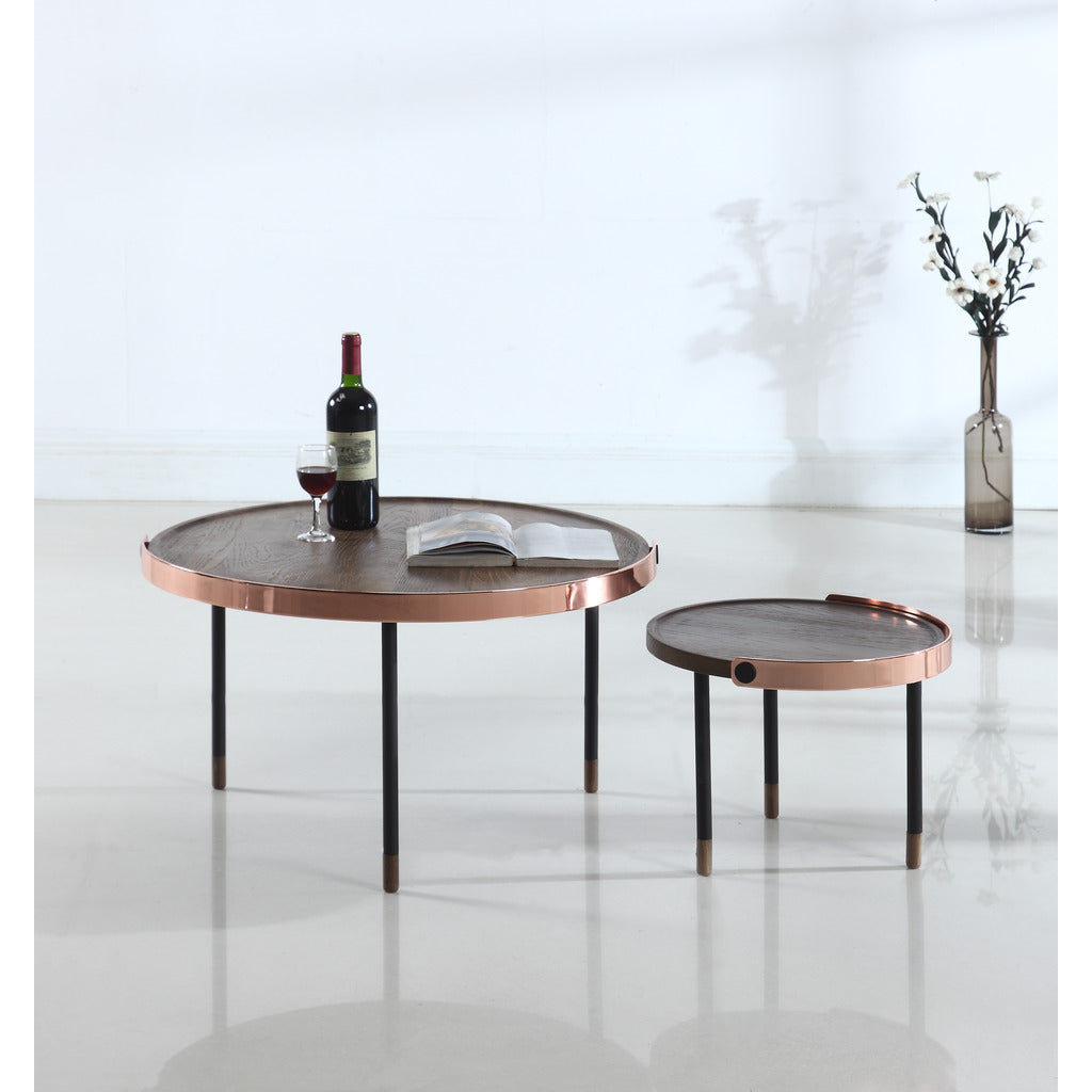 Camino Carmel Side Table | Smoked Oak/Copper/Black