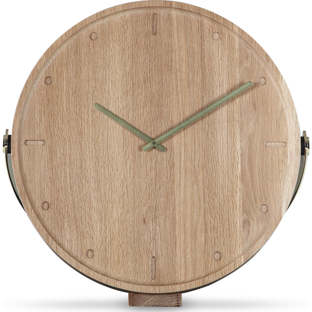 Camino Clara Clock | Waxed Oak/Brass