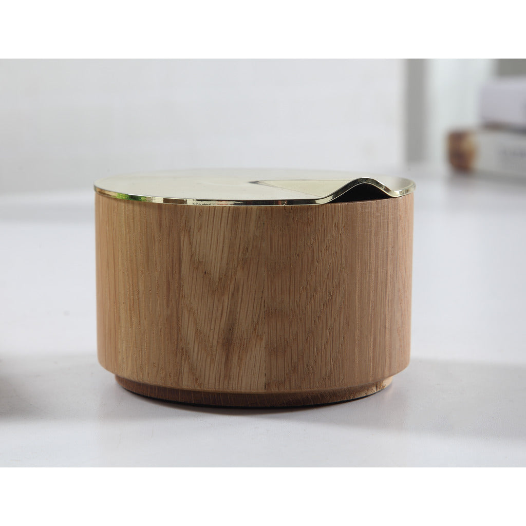 Camino Diego Container w/Lid | Waxed Oak/Brass